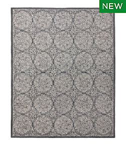 Floral Circle Wool Tufted Rug, Steel