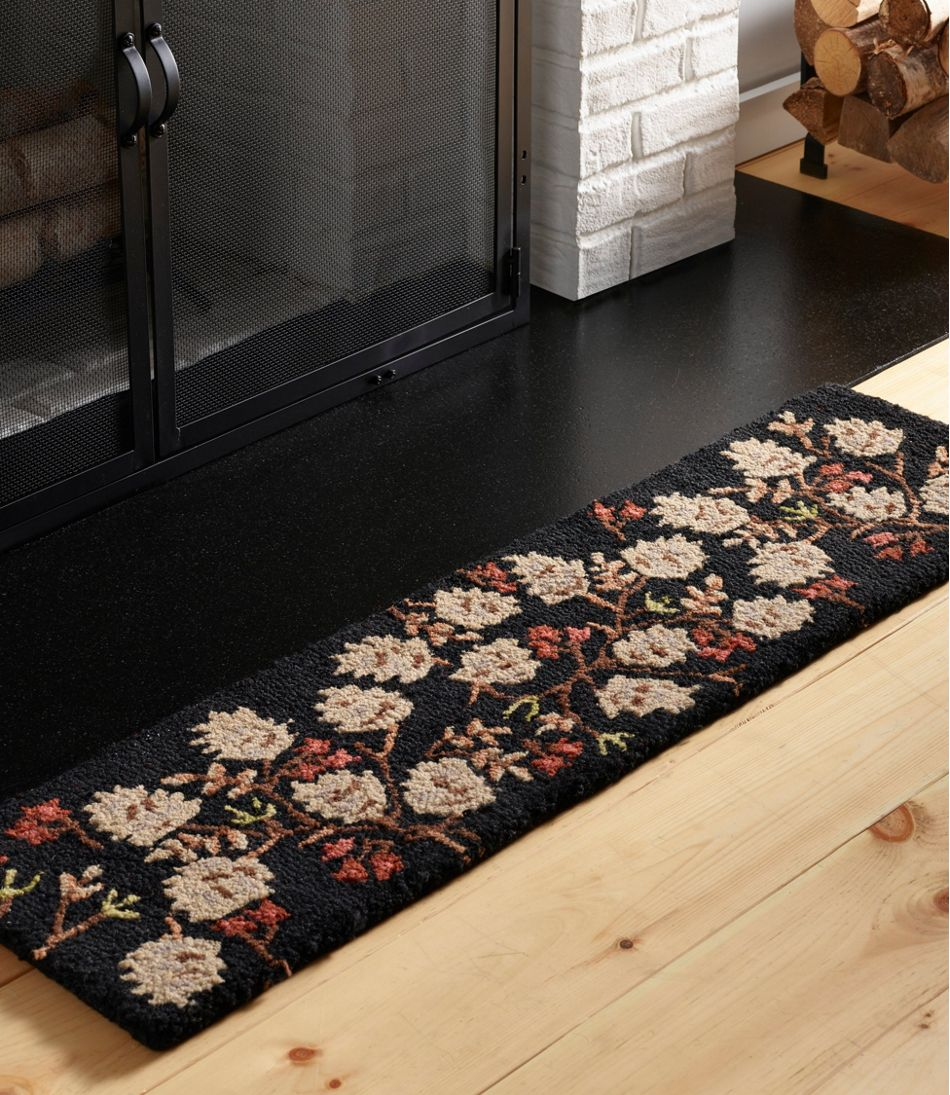 Wool Hooked Rug, Pinecones and Berries