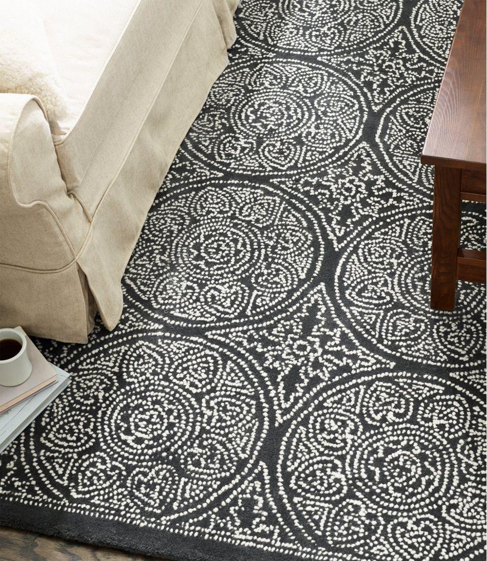 Floral Circle Wool Tufted Rug, Steel