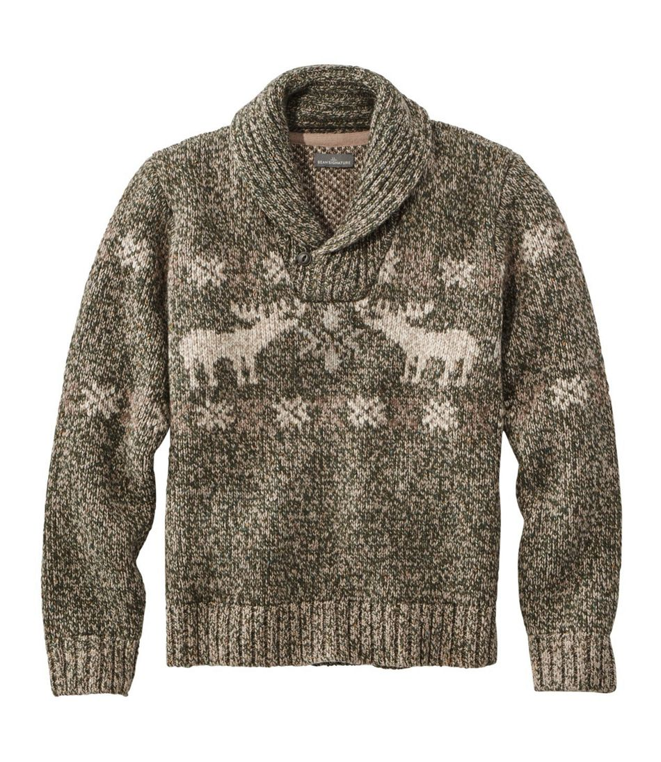 Signature Ragg Wool Sweater, Shawl Pullover, Moose Fair Isle