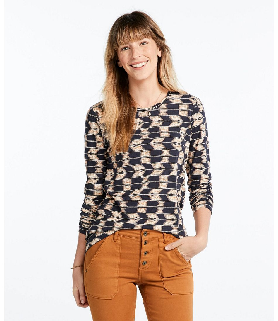Signature Essential Knit Tee, Long-Sleeve Print
