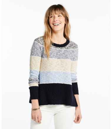 Signature Cotton/Linen Ragg Crewneck Sweater, Stripe