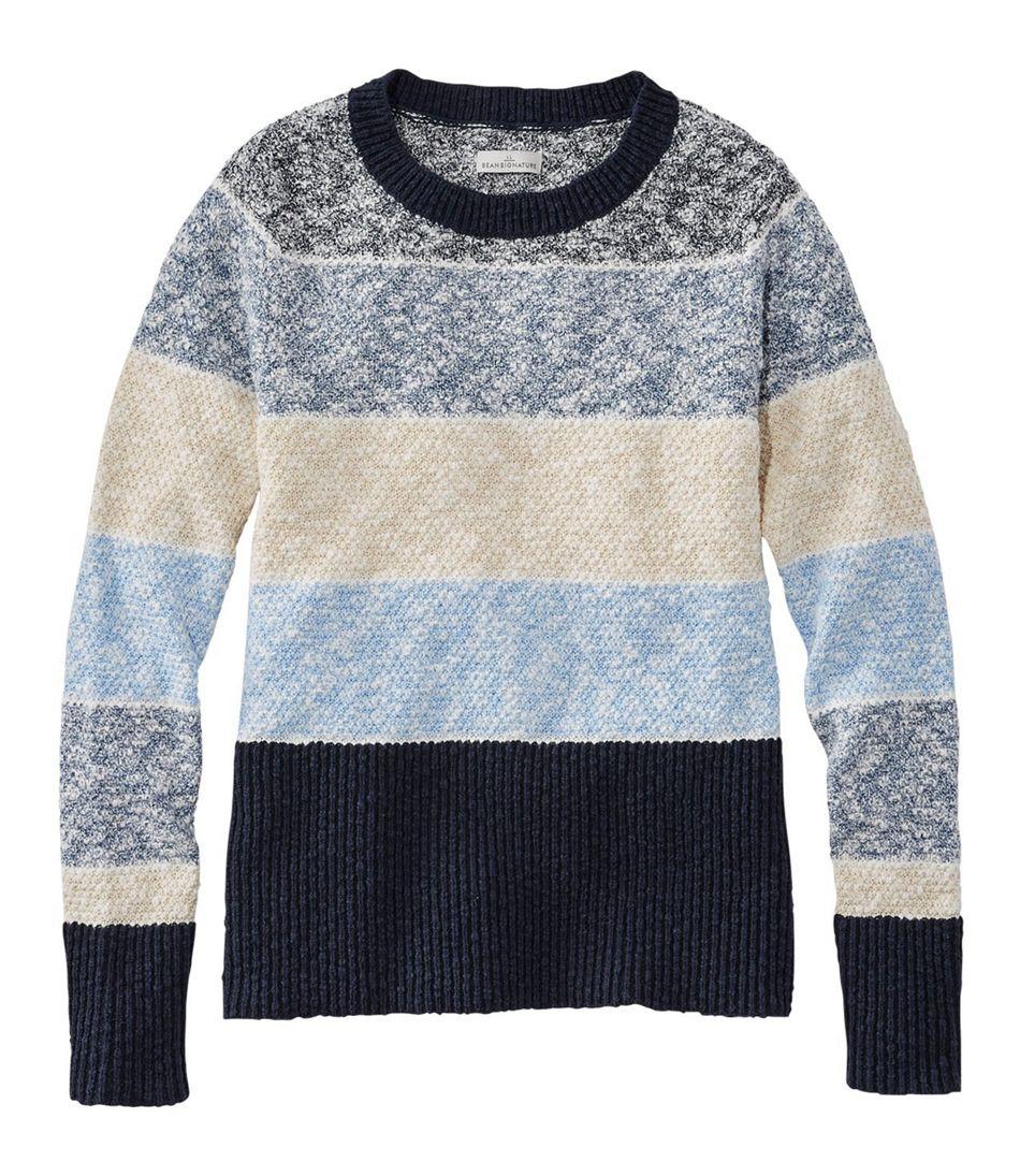 Signature Cotton/Linen Ragg Crewneck Sweater, Stripe