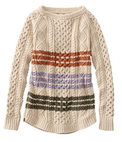 Signature Cotton Fisherman Tunic Sweater, Stripe