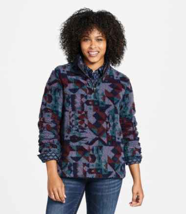 Women's Signature Sherpa Fleece Pullover, Quarter-Zip Jacquard