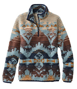 Women's Signature Sherpa Fleece Pullover, Quarter-Zip Jacquard
