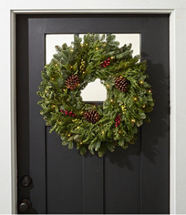 Woodland Berry Lighted Wreath, 24""