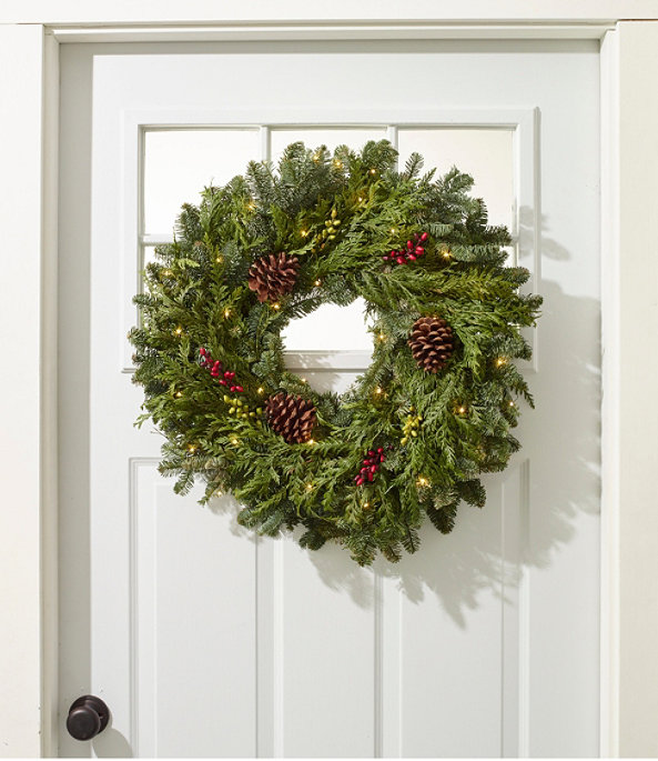 Woodland Berry Lighted Wreath, One Color, large image number 1