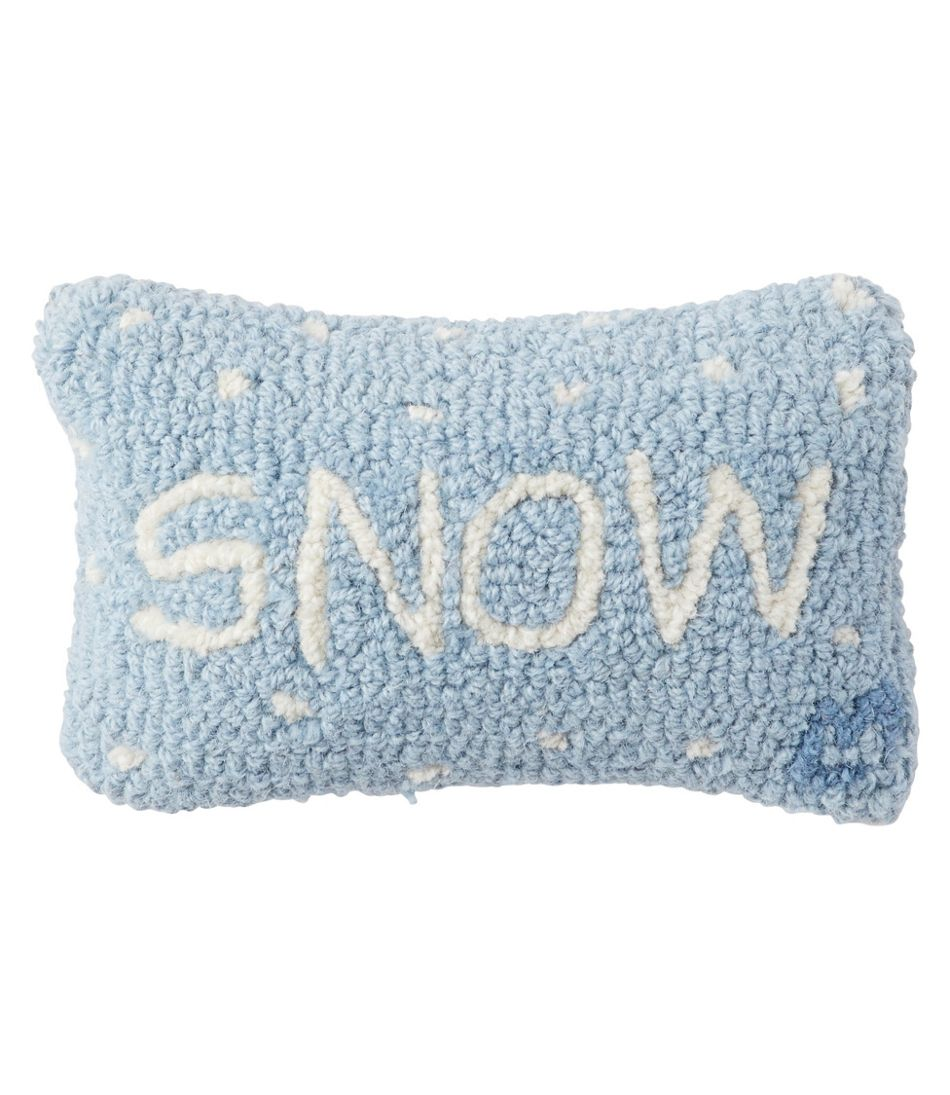 Wool Hooked Throw Pillow, Snow
