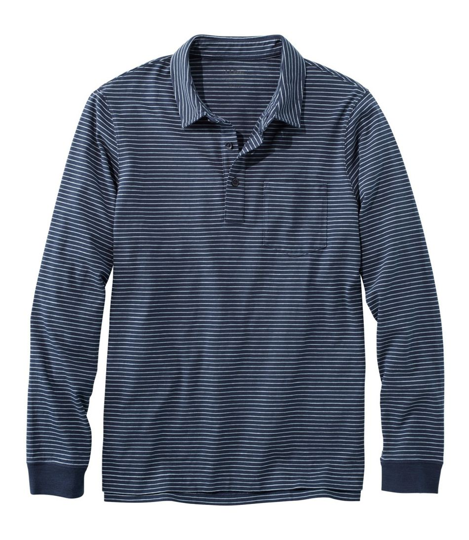 Men's Lakewashed® Organic Cotton Polo with Pocket, Long-Sleeve, Stripe