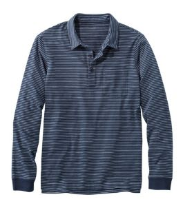 Men's Lakewashed Organic Cotton Polo with Pocket, Long-Sleeve, Stripe
