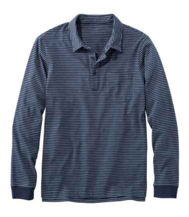 Lakewashed® Organic Cotton Polo with Pocket, Long-Sleeve, Stripe