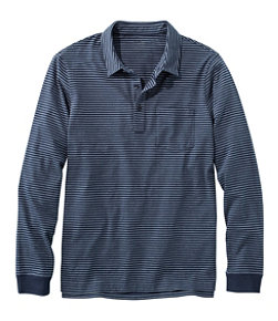Men's Lakewashed Organic Cotton Polo with Pocket, Long-Sleeve, Stripe