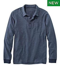 Lakewashed Organic Cotton Polo with Pocket, Long-Sleeve, Stripe