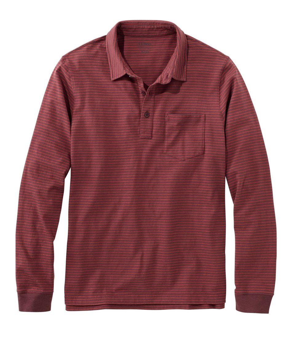 Men's Lakewashed® Organic Cotton Polo with Pocket, Long-Sleeve, Stripe