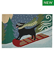 Indoor/Outdoor Vacationland Rug, Toboggan Dog