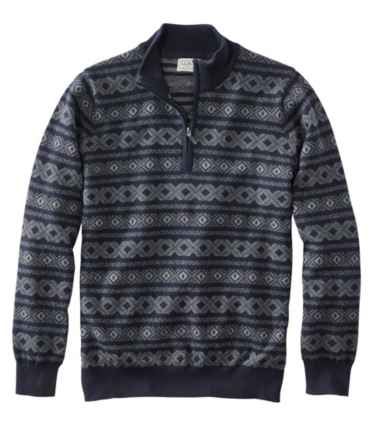 Cotton/Cashmere Sweater, Quarter Zip, Fair Isle