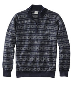 Men's Cotton/Cashmere Sweater, Quarter Zip, Fair Isle