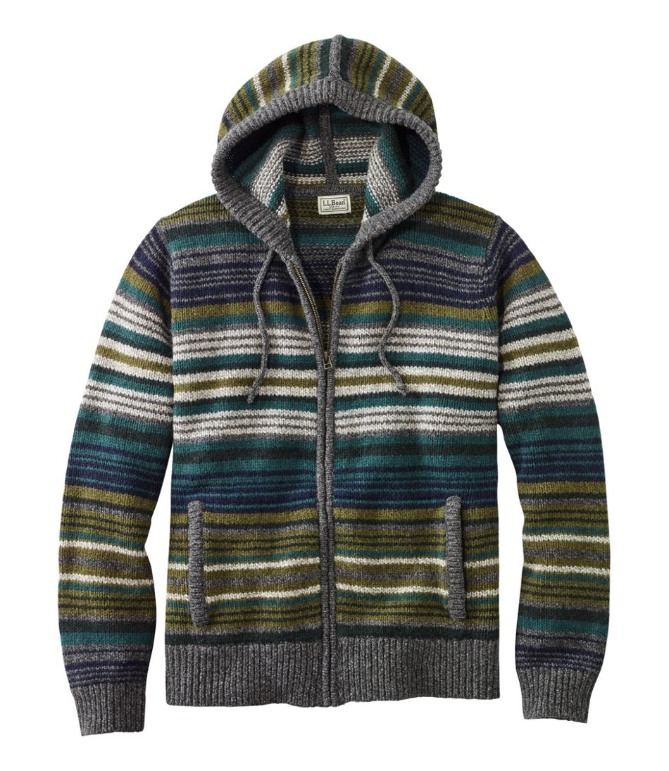 60s 70s Men's Jackets & Sweaters Mens L.L.Bean Classic Ragg Wool Sweater Zip Hoodie Stripe $109.00 AT vintagedancer.com