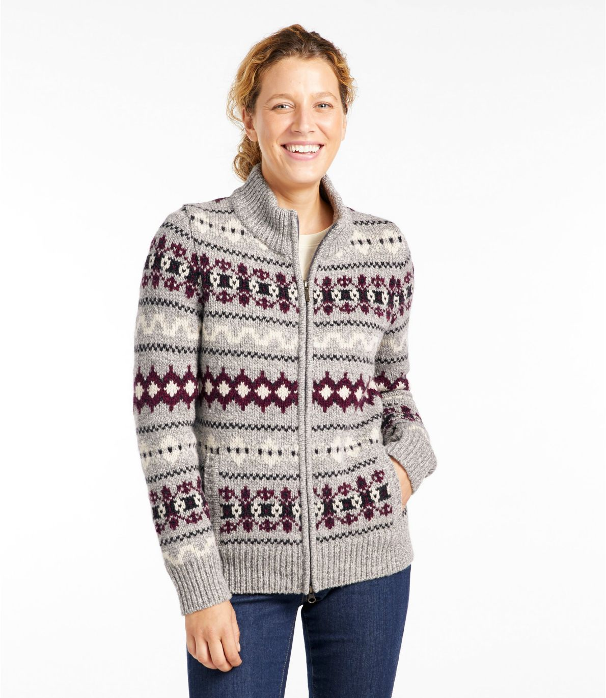 Women's Bean's Classic Ragg Wool Sweater, Zip Cardigan Vintage Fair Isle