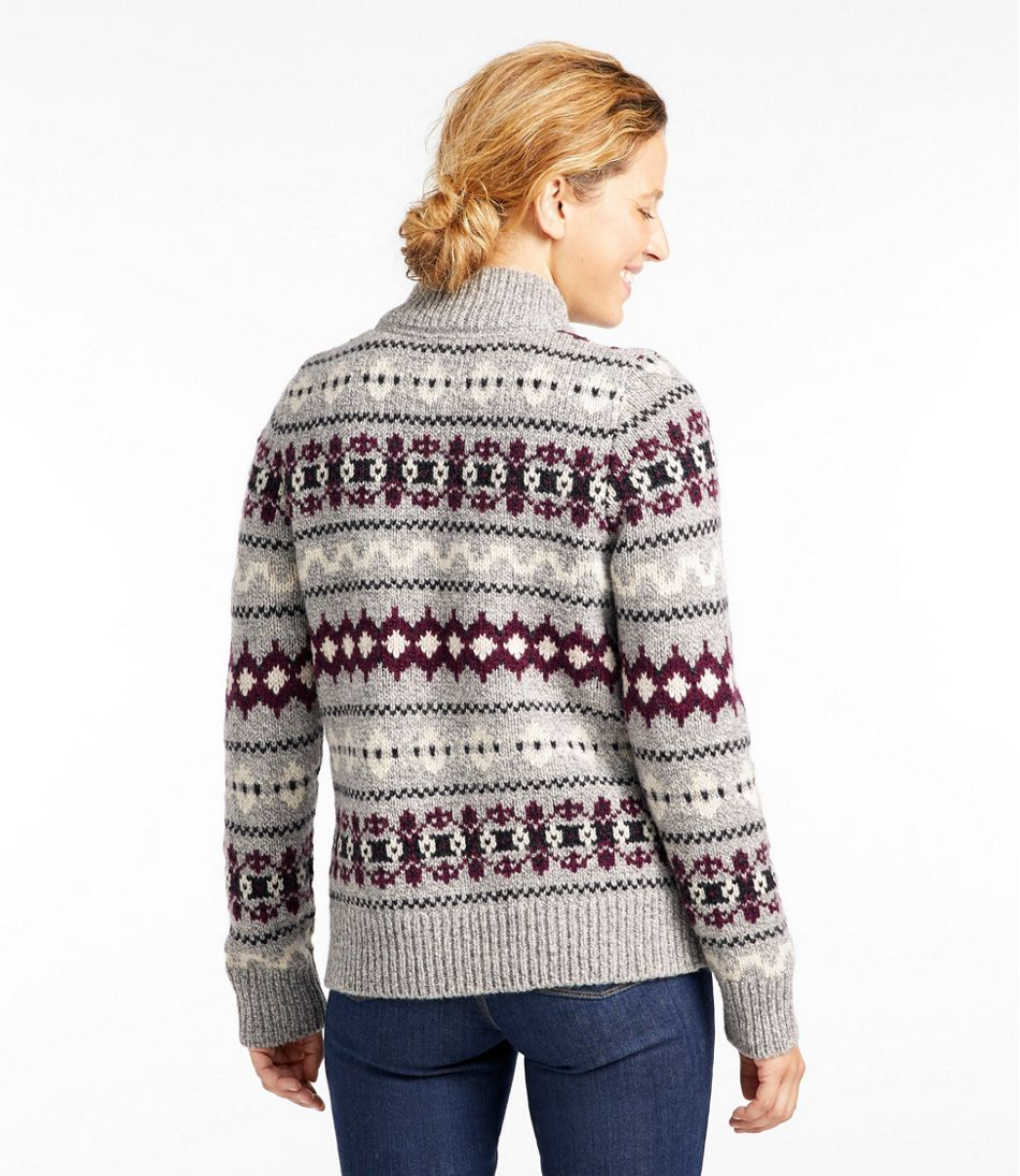 Women's Bean's Classic Ragg Wool Sweater, Zip Cardigan Vintage Fair Isle