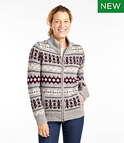 Bean's Classic Ragg Wool Sweater, Zip Cardigan Vintage Fair Isle
