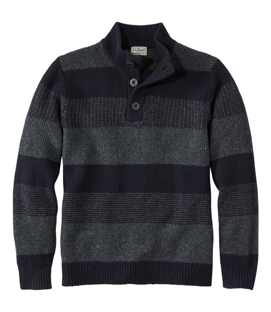 Washable Lambswool Sweater, Button Mock, Stripe