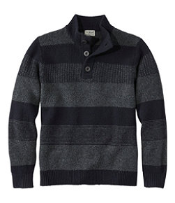 Men's Washable Lambswool Sweater, Button Mock, Stripe