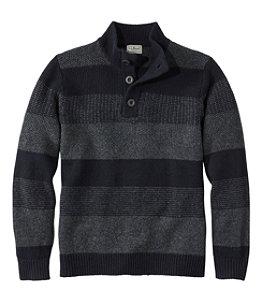 Men's Washable Lambswool Sweater, Button Mock, Stripe