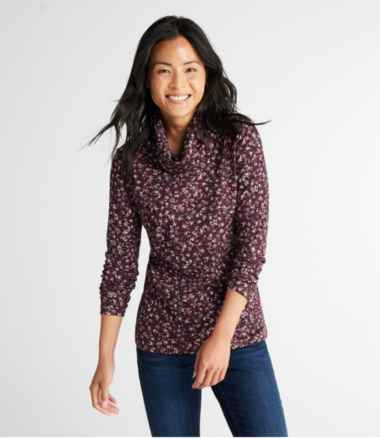 Pima Cotton Tee, Long-Sleeve Cowlneck Print