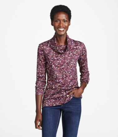 Women's Pima Cotton Tee, Long-Sleeve Cowlneck Print