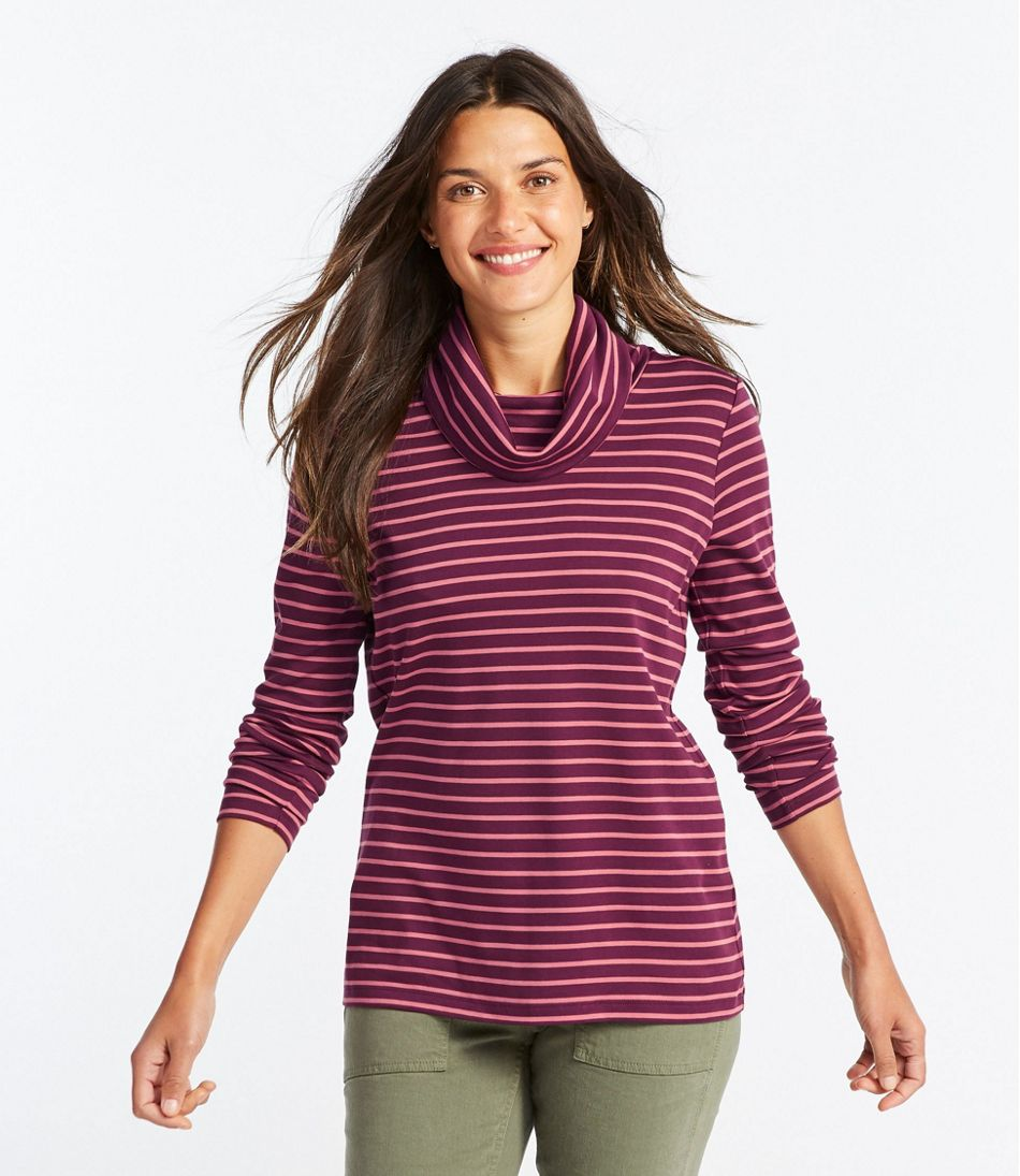 Pima Cotton Tee, Long-Sleeve Cowlneck Stripe