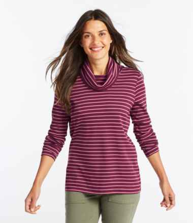 Women's Pima Cotton Tee, Long-Sleeve Cowlneck Stripe