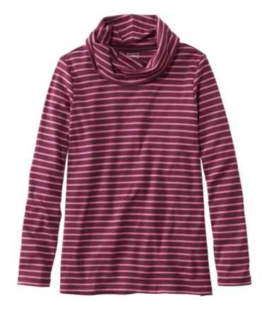 Pima Cotton Tee, Long-Sleeve Cowlneck Stripe