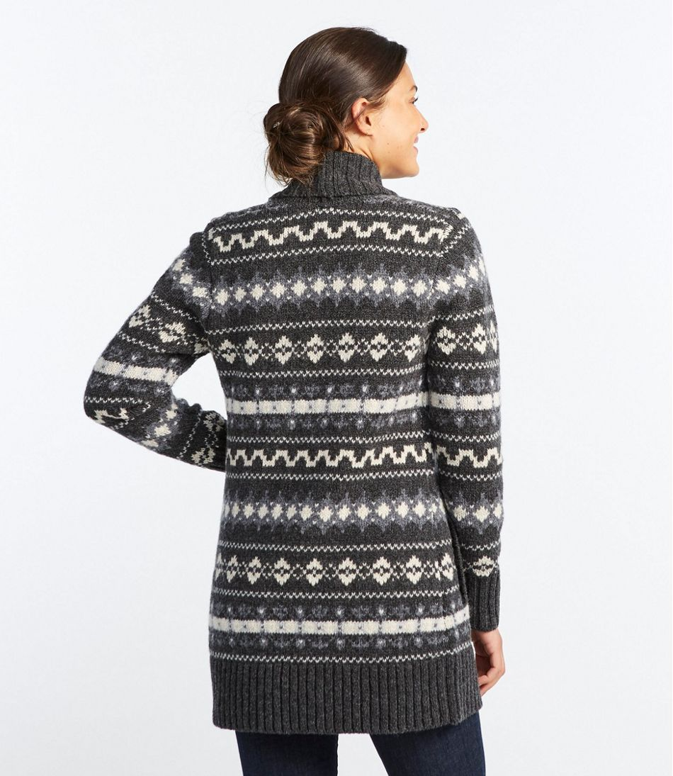 Bean's Classic Ragg Wool Sweater, Open Cardigan Vintage Fair Isle