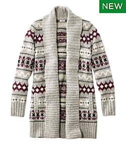 Women's Bean's Classic Ragg Wool Sweater, Open Cardigan Vintage Fair Isle