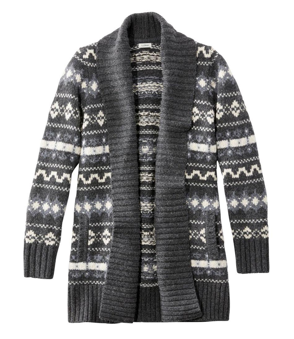 Bean's Classic Ragg Wool Sweater, Open Cardigan Vintage Fair Isle