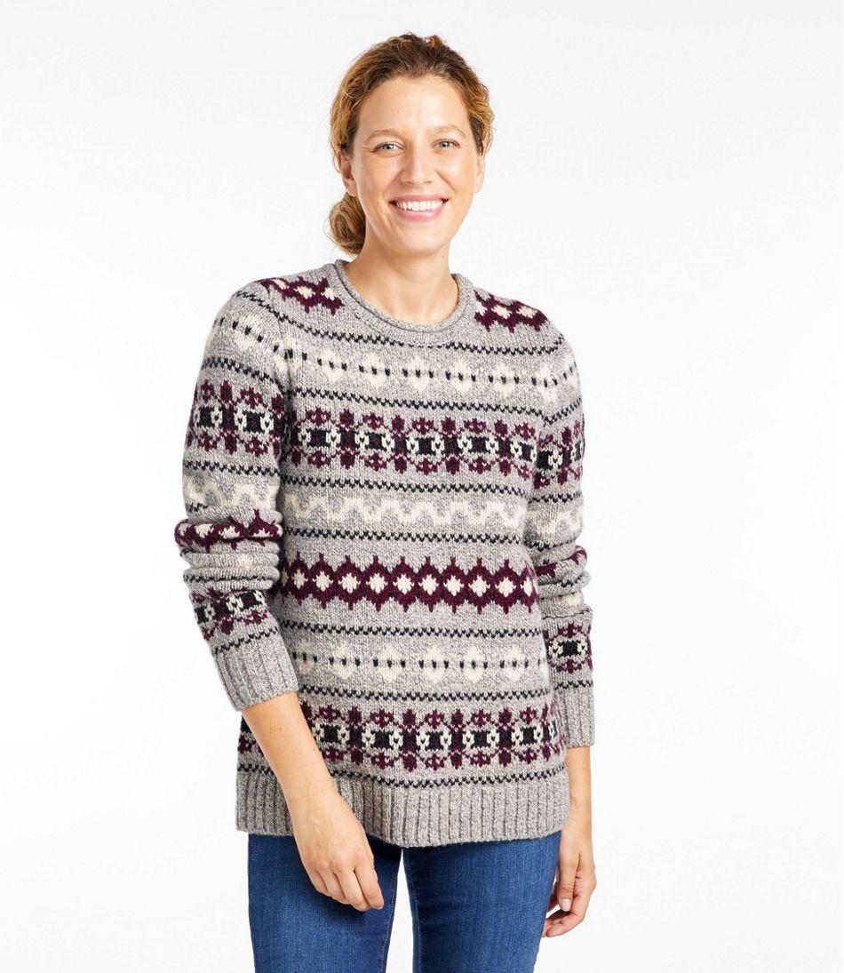 Women's Bean's Classic Ragg Wool Sweater, Crewneck Vintage Fair Isle
