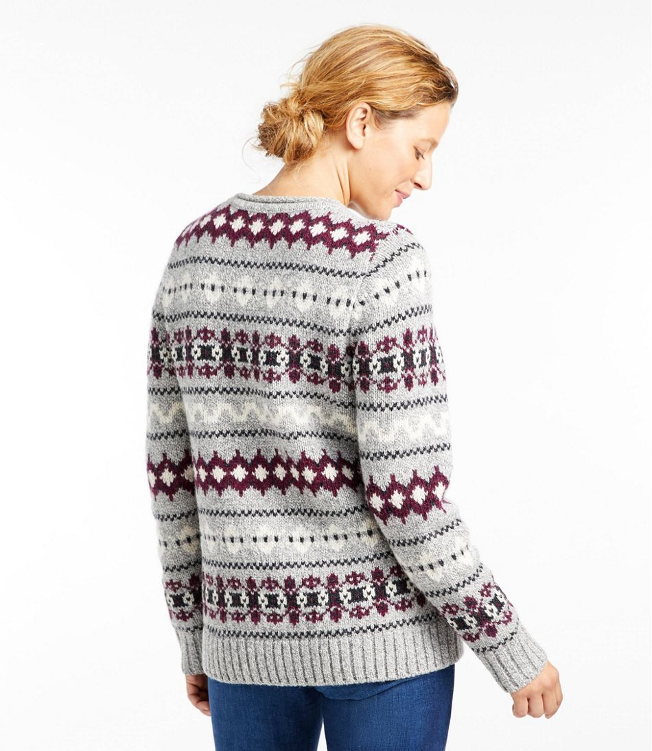 Women's Bean's Classic Ragg Wool Sweater, Crewneck Vintage Fair Isle
