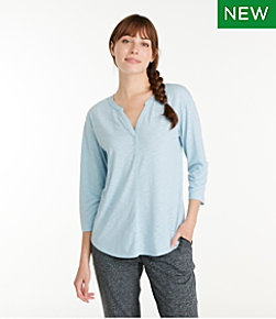 Streamside Tee, Three-Quarter-Sleeve Splitneck