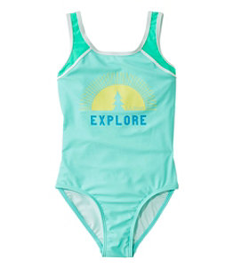 Girls' Graphic Swimsuit, One-Piece