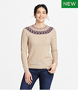 Women's Classic Cashmere Sweater, Crewneck Fair Isle