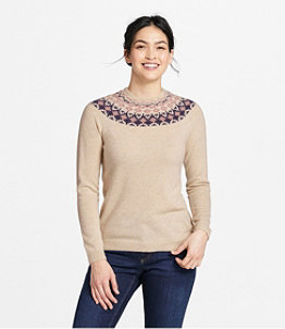 Women's Classic Cashmere Sweater, Crewneck Fair Isle