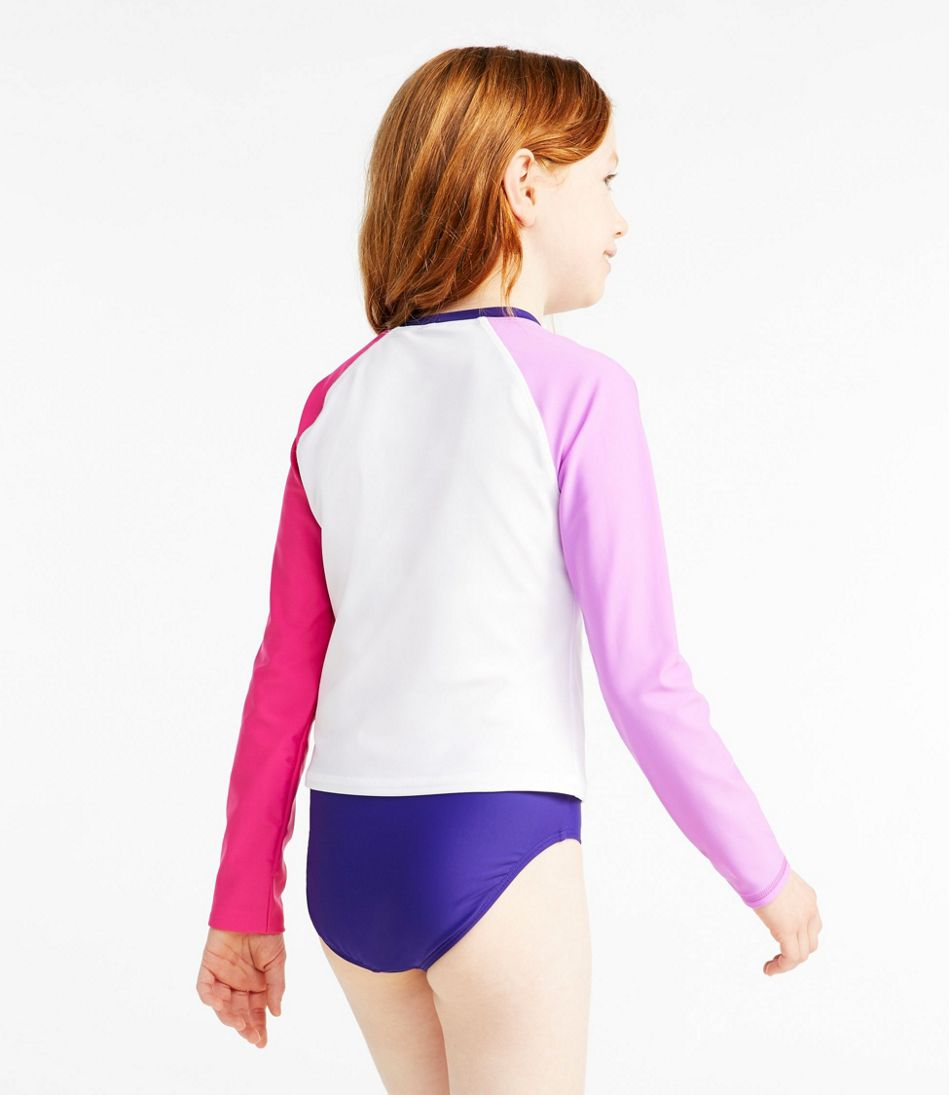 Girls' Rash Guard Swimsuit, Two-Piece, Colorblock