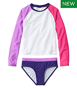 Girls' Rashguard Swimsuit, Two-Piece, Colorblock