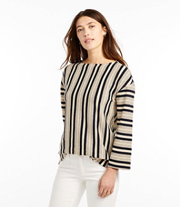Women's Signature Organic Cotton/Hemp-Blend Top, Long-Sleeve Stripe