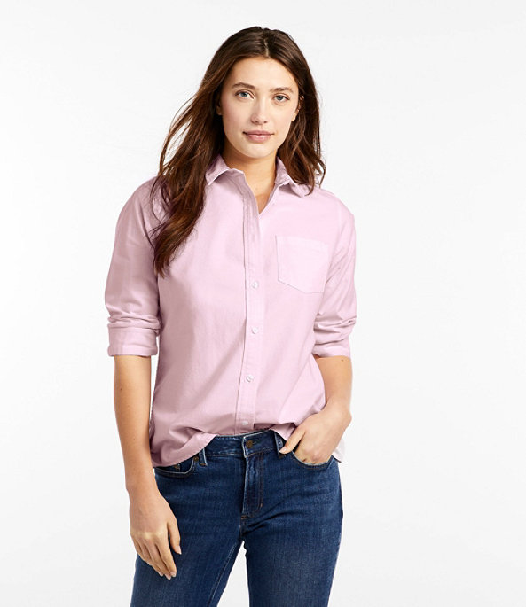Women's Lakewashed Organic Cotton Oxford Shirt, Purple Mist, largeimage number 1
