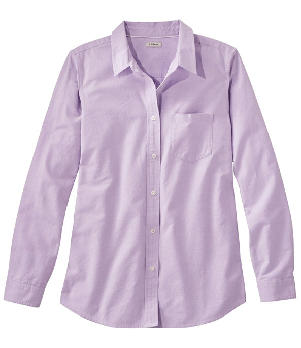 Women's Lakewashed Organic Cotton Oxford Shirt, Purple Mist, largeimage number 0
