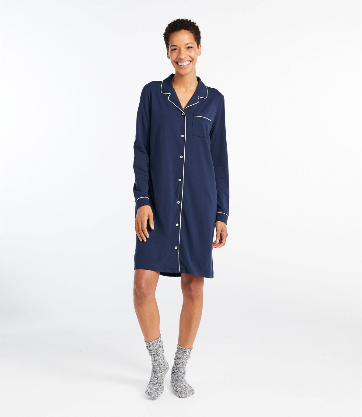 Women's Super-Soft Shrink-Free Nightgown, Button-Front