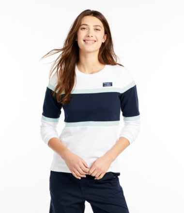 Women's Soft Cotton Rugby, Crewneck Colorblock